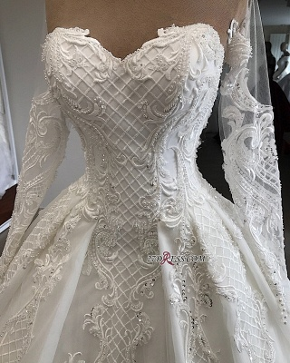 Appliques Charming Long-Sleeves Sweetheart Lace Jewel Wedding Dresses_3