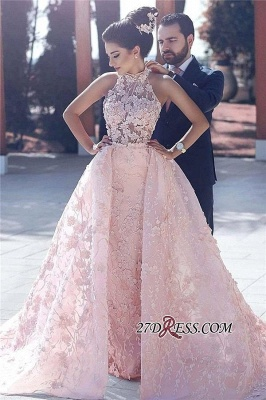Sleeveless Glamorous Lace-Appliques Halter Pink Evening Dress_4