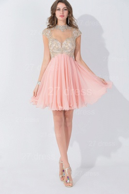 Modern High Neck Cap Sleeve Chiffon Homecoming Dress With Appliques Beadings_5