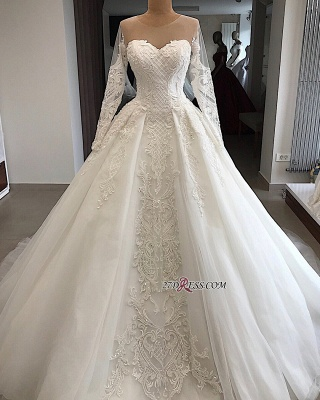 Appliques Charming Long-Sleeves Sweetheart Lace Jewel Wedding Dresses_2