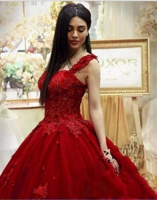 Gorgeous Sweetheart Red Prom Dresses| Long Lace Appliques Ball Gown Evening Gowns_3