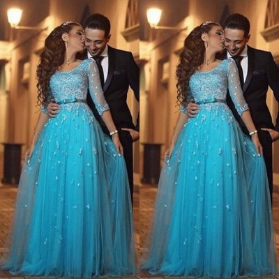 Beautiful Half-Sleeve Tulle 2020 Evening Dress Lace Appliques_3