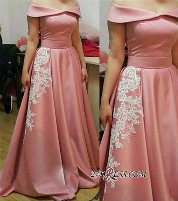 Off-the-Shoulder Glamorous Appliques A-Line Pink Prom Dress_2