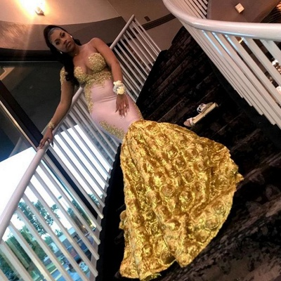 Gorgeous Long Sleeve Yellow Prom Dress | 2020 Mermaid Evening Gown With Flower Bottom BC2060_3