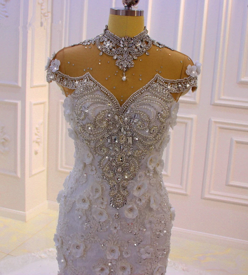 Delicate Beading Appliques Mermaid Bridal Gowns Sheer Tulle Sparking Wedding Dresses_2
