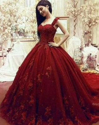 Gorgeous Sweetheart Red Prom Dresses| Long Lace Appliques Ball Gown Evening Gowns_6