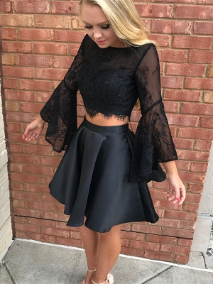 Gorgeous Black Long Sleeve Lace Homecoming Dress Two Pieces Online BA7015_1