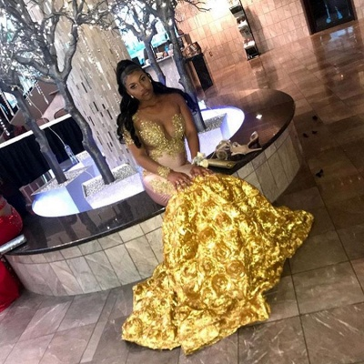 Gorgeous Long Sleeve Yellow Prom Dress | 2020 Mermaid Evening Gown With Flower Bottom BC2060_2