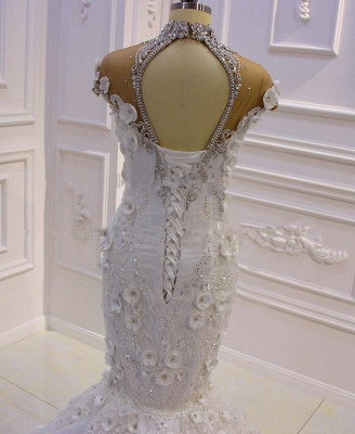 Delicate Beading Appliques Mermaid Bridal Gowns Sheer Tulle Sparking Wedding Dresses_3
