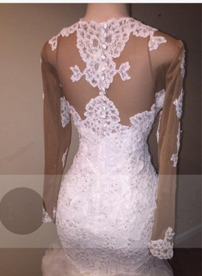 Delicate Long Sleeve Lace Appliques Wedding Dress | 2020 Mermaid Bridal Gown_3