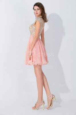 Modern High Neck Cap Sleeve Chiffon Homecoming Dress With Appliques Beadings_3