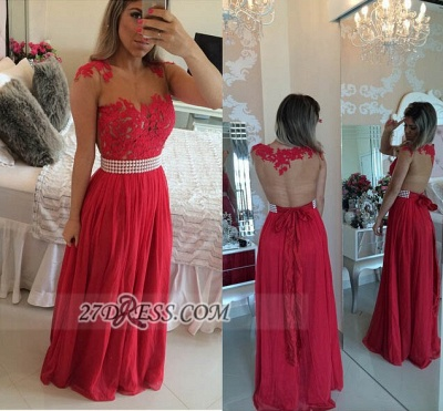 Elegant Chiffon Long Red Prom Dress With Pearls And Lace Appliques BT0_2