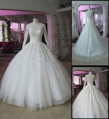 Elegant Lace Appliques Ball Gown Wedding Dress 2020 Long Sleeve_4