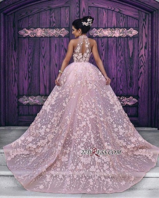 Sleeveless Glamorous Lace-Appliques Halter Pink Evening Dress_3
