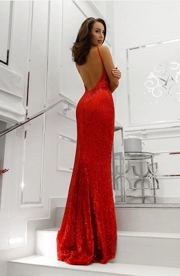 Glamorous V-Neck Sleeveless Sequins Prom Dress   Mermaid Backless Long Red Evening Gowns_3