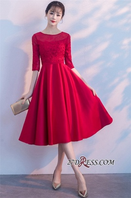Lace Half-Sleeves Red Zipper A-Line Homecoming Dress_2