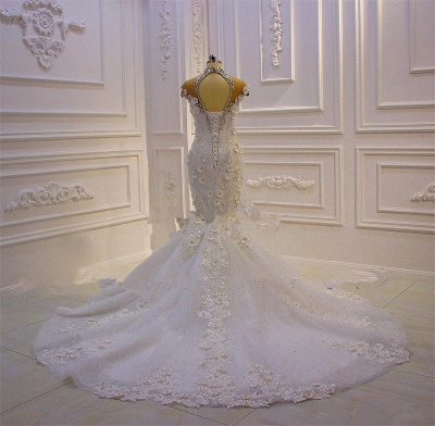 Delicate Beading Appliques Mermaid Bridal Gowns Sheer Tulle Sparking Wedding Dresses_4