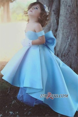 Lovely Bow Simple Blue Off-the-Sholder Flower-Girls Dresses BA7114_3