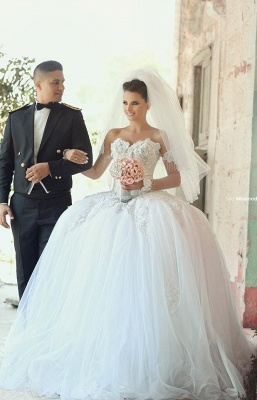 Delicate Off-the-shoulder Tulle Wedding Dress 2020 Lace Appliques Ball Gown_4