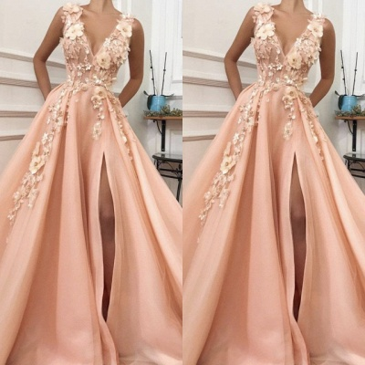 Elegant V-Neck Sleeveless 2020 Evening Gowns | Slit Prom Dress With Flowers On Sale TMD BC0892_2