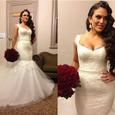 Stunning Sweetheart Straps 2020 Wedding Dress Lace Mermaid Tulle_3