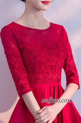 Lace Half-Sleeves Red Zipper A-Line Homecoming Dress_1