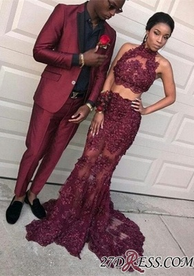 Two-pieces burgundy prom dress,mermaid evening dress long BK0_2
