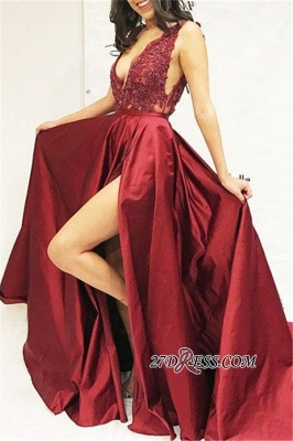 Sexy Sleeveless Side Slit Straps Prom Dresses | Cheap A-Line Appliques Sequins Evening Dresses_1