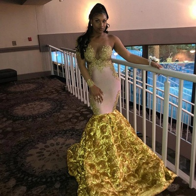 Gorgeous Long Sleeve Yellow Prom Dress | 2020 Mermaid Evening Gown With Flower Bottom BC2060_4