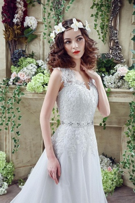 Timeless Lace Appliques Tulle 2020 Wedding Dress Cap Sleeve Beadings Zipper_6