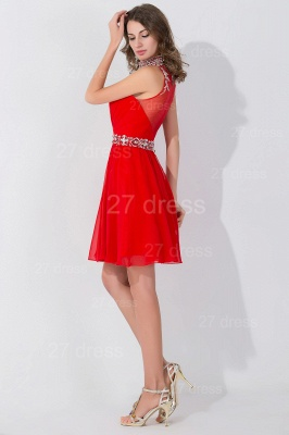 Elegant Sleeveless Red Chiffon homecoming Dress High Neck With Beadings Crystals_4