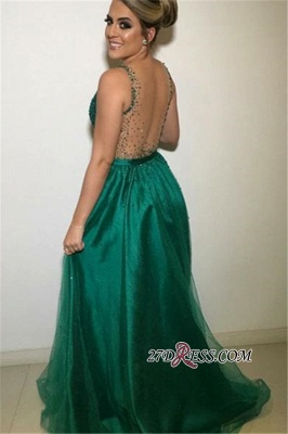 Sexy Straps A-Line Sequins Evening Dresses | Cheap V-neck Sleeveless Backless Tulle Party Dresses_1