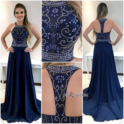 Navy long prom dress, 2020 party dresses_3