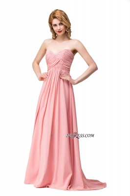 Bridesmaid Floor-Length Simple Chiffon Dress Ruffled Strapless Prom Dress_5