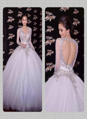 New Arrival Backless Lace Ball Gowns Wedding Dresses Sheer V-Neck Long Sleeves Floor Length Bridal Gowns With Appliques_6