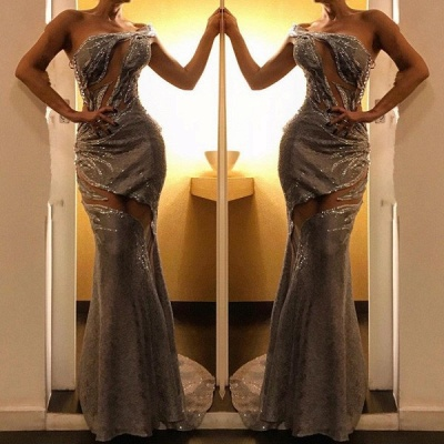 2020 Exquisite One-Shoulder Sleeveless Mermaid Prom Gown | Front Split Beadings Evening Dress On Sale_2