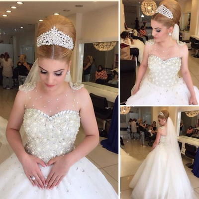 Glamorous Beading Tulle Wedding Dress 2020 Ball Gown Floor-length MH052_3