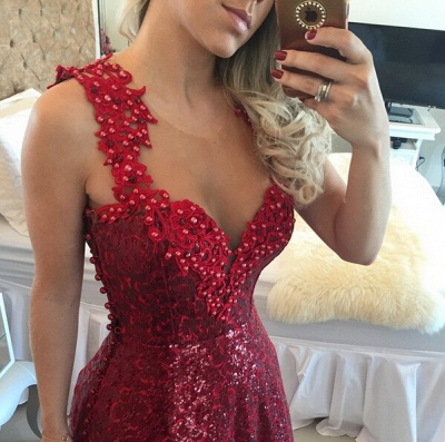 Glamorous Lace Appliques A-line Prom Dress 2020 Sequins Beadings_3