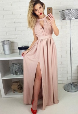 Elegant Sleeveless 2020 Prom Dress | Long Chiffon Evening Gowns With Slit BA9622_1