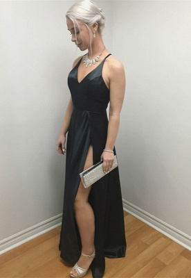 Sexy Black V-Neck Prom Dress | 2020 Evening Gowns With Split_1