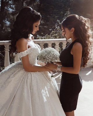 Elelgant Off Shoulder Beaded Bridal Gowns Flowers Ball Gown Wedding Dress_3