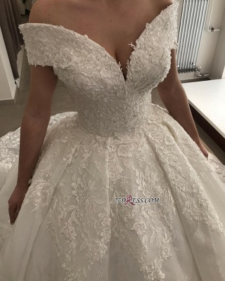 Ball-Gown Off-the-shoulder Appliques Lace Glamorous V-neck Wedding Dresses_1