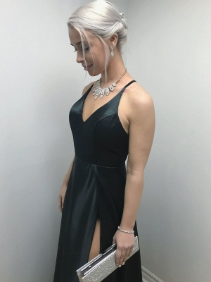 Sexy Black V-Neck Prom Dress | 2020 Evening Gowns With Split_4