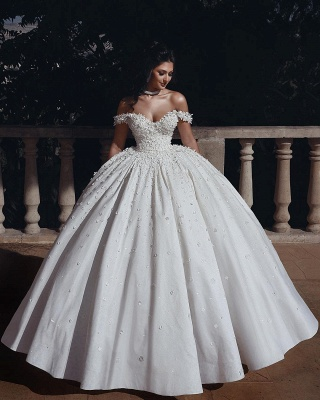 Elelgant Off Shoulder Beaded Bridal Gowns Flowers Ball Gown Wedding Dress_2