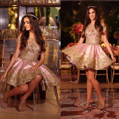 Gold Lovely Appliques Short Lace Pink Off-The-Shoulder Homecoming Dress BA6543_1