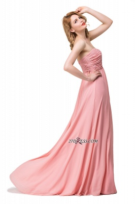Bridesmaid Floor-Length Simple Chiffon Dress Ruffled Strapless Prom Dress_3