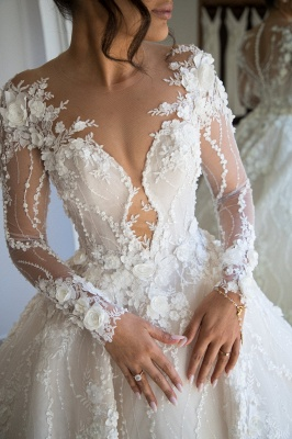 Exquisite Appliques Sheer Tulle Bridal Gowns Long Sleeve A-line Wedding Dress_3