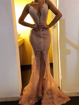 Gorgeous Spaghetti-Straps Mermaid Prom Dresses | 2020 Lace Beadings Evening Gowns BC0271_1