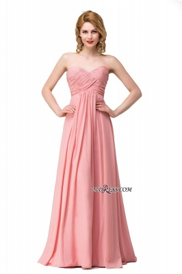 Bridesmaid Floor-Length Simple Chiffon Dress Ruffled Strapless Prom Dress_1