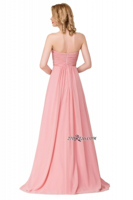 Bridesmaid Floor-Length Simple Chiffon Dress Ruffled Strapless Prom Dress_4